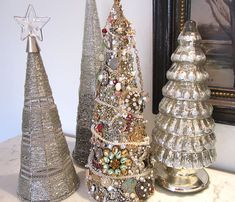 jeweled christmas trees.  Charms and brooches.