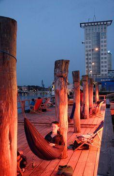 Berlin, Badeschiff, hammock and BYOB.