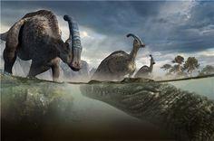 Deinosuchus preys on an unsuspecting Parasaurolophus.