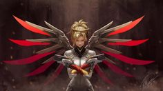 Mercy Overwatch Game Girl Sci-Fi Wings Wallpaper