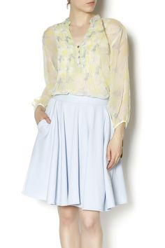 Sheer chiffon mandarin collar blouse with button detail on the neckline. Pair back with a tank and a skinny pant.   Chiffon Blouse by casual studio. Clothing - Tops - Long Sleeve Clothing - Tops - Blouses & Shirts Clothing - Tops - Casual Oregon