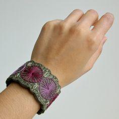 Wool Felt Bracelet Wristband Cuff // Hand Embroidered // Heather & Olive // LoftFullOfGoodies. $24.00, via Etsy.