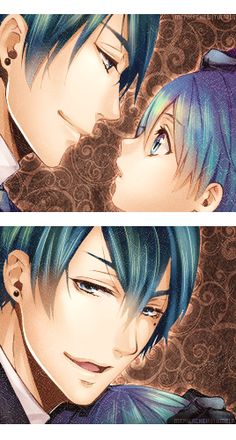 Vincent and Ciel Phantomhive. kuroshitsuji ;-; so well done and curl looks so innocent