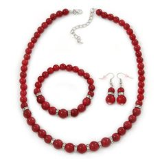 Dark Red Ceramic Bead Necklace, Flex Bracelet and Drop Earrings With Crystal Ring Set In Silver Tone - 44cm Length/ 6cm Extension