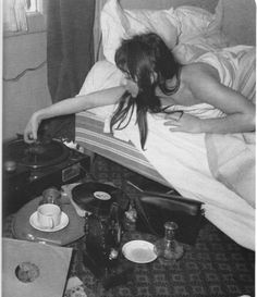 French chanteuse Juliette Greco (from Boris Vian's illustrated Manual of St Germain des Pres). maybe in kitchen or garden- not bed) Lps, Juliette Greco, Boris Vian, We Will Rock You, Record Players, Record Record, Saint Germain, Vinyl Records, Rock And Roll