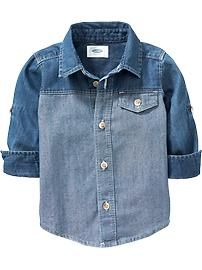 Two-Tone Denim Shirt for Baby