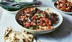 This vegan recipe for an Aubergine, Tomato and Chickpea Traybake is a fuss-free dish that requires very little effort, and even less washing up! Bursting with flavour and nourishing ingredients, this is a fail-safe midweek dinner. Chickpea Recipes, Veggie Recipes, Vegetarian Recipes, Veggie Food, Batch Cooking, Cooking Recipes, Eastern Cuisine, Plant Based Diet, Soups And Stews