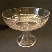 """Early American Pressed Glass """"Plume"""" Pattern Compote w/Smooth Rim Fruit Dishes, Candy Dishes, American Press, Novelty Items, Early American, Pressed Glass, Flat Iron, Butter Dish, Bowls"""
