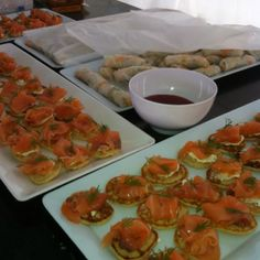 Smoked salmon blini with citrus crème fresh and dill #canapes