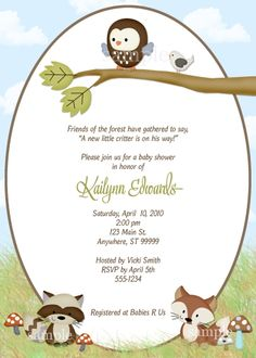 85 best baby showers by kimbellished images on pinterest baby forest friends baby boy shower invitation filmwisefo