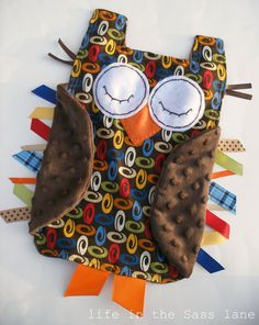 Woodland OWL in Retro Inspired Swirls Print with Chocolate Brown Minky Fabric Ribbon Tag Blankie Blanket Lovey Lovie Baby Gift