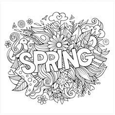 Spring hand lettering and doodles elements royalty-free stock vector art Coloring Pages For Teenagers, Coloring Pages For Kids, Free Coloring Sheets, Spring Coloring Pages, Coloring Book Pages, Coloring Canvas, Free Printable Coloring Pages, Colorful Drawings, Doodle Art