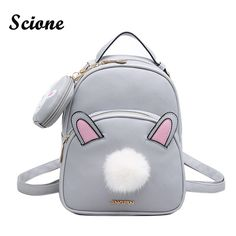 Cheap bag pack, Buy Quality leather bag pack directly from China harajuku backpack Suppliers: Korean Harajuku Backpack Cute Rabbit Ears Female Bag Backpack Set Kawaii PU Leather Bag Pack + Small Bags with Fur Ball School Bags For Girls, Girls Bags, Leather Backpack, Pu Leather, White Leather, Korean Bags, Girls Rucksack, Rabbit Accessories, Leather School Bag