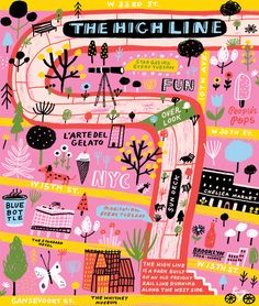 the high line nyc. Travel and map illustration Street Art Graffiti, Map Design, Graphic Design, Map Projects, Travel Illustration, Flat Illustration, Illustrators On Instagram, City Maps, Design Thinking