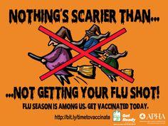 Enjoy this Halloween e-card! Nothing's scarier than not getting a flu shot. Infection Control, Influenza, Flu Season, E Cards, Public Health, Nurses, Usa, Halloween, Socialism