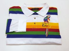 Coogi XXL Men's Polo Long Sleeve Multi-Color Stripe Embroidered Parrot 2XL #COOGI #PoloRugby