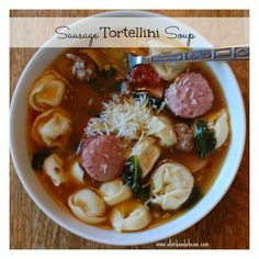 Sausage Tortellini Soup - perfect for a chilly drizzly day! Tasty and super easy to make.