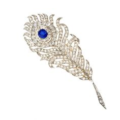 Antique Diamond and Sapphire Peacock Feather Brooch