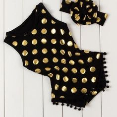 Gold Dot Rompers