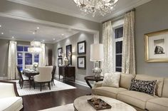 Grey walls, tan furniture, dark wood floors, lots of light.  I love everything about this space!