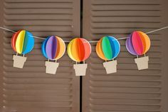 3D Hot Air Balloon Banner - Up Up and Away - Rainbow - Circus - - baby shower, birthday party, nursery decor - custom colors available