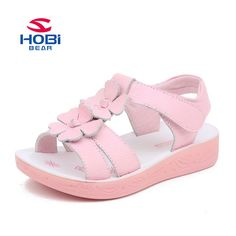 6cdd593ac033 Hobibear Flower Cool Shoes for Girls Princess Sandals Shoes for Children  Flat Cow Split Shoes GU2585-in Sandals from Mother   Kids on Aliexpress.com  ...
