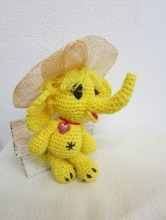 Alya Crocheted with a lot of love Alya is ideal also for small children. Alya is made of acrylic yarn. She is 21 cm tall Alya is filled with Tweety, Dinosaur Stuffed Animal, Elephant, Teddy Bear, Crochet, Animals, Amigurumi, Animales, Animaux