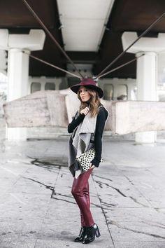 Ethnic Vest + Burgundy Leather Pants