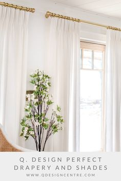 """It's amazing what custom drapery can do for a space! It really is the perfect finishing touch for a room, adding texture and height and beauty to your walls and windows. Seen here is our Cozy Linen 2-fold pinch pleat drapery in the colour Polar in the vacation home of @thelesliestyle, and she paired the panels perfectly with our 1"""" Sation Brass hardware. Click to explore all of Q. Design's custom drapery fabric options and to order your 5 free swatches today! Drapery Panels, Drapery Fabric, Panel Curtains, Brass Hardware, Window Coverings, Window Treatments, Home Panel, Drapery Designs, Room Layouts"""