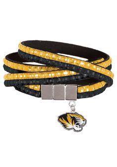12. Missouri Tigers Womens Black and Gold Wrist Wrap Bracelet.