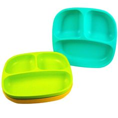 Re-Play Divided Plates, Aqua, Green, Orange, 3-Count:Amazon:Baby