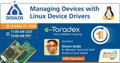 Managing Devices with #Linux Device Drivers! Does this pique your interest? Encourage you to learn more about it? Well, our partner Doulos' #webinar addresses the same tomorrow. Register now and gain insight into this, management of peripheral devices in an #Arm-based #embedded #Linux system, and more. #SimonGoda #embeddedsystems