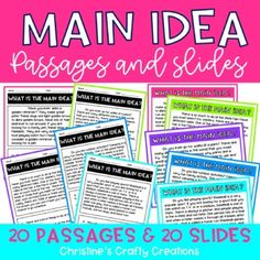 This packet includes 20 main idea passages & 20 main idea slides (the slides are the same as the passages). You can use these as a review powerpoint, in small group instruction, whole group instruction, homework assignments, etc.- Includes an answer key and student recording sheet.- PDF files a... Reading Intervention, Reading Passages, Teaching Reading, Reading Comprehension, Reading Resources, Reading Strategies, Teacher Resources, Reading Lessons, Elementary Teacher