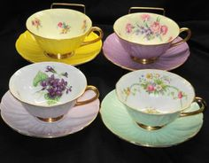 SHELLEY SET OF 4 COLLECTION OLEANDER PASTEL TEA CUP AND SAUCER