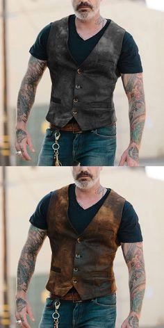 Men's Pocket vest Men's single breasted pocket vest Korean Fashion, Mens Fashion, Fashion Outfits, Fashion Shirts, Fashion Blogs, Party Fashion, Fashion 2020, Cowboy Outfits, Wholesale Clothing