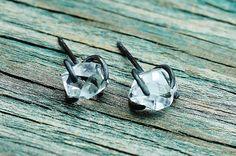 Herkimer Diamond & Oxidized Sterling Silver Post by GATHERJEWELRY, $70.00