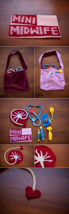 Mini Midwife Kit, complete with stuffed placenta! Doesn't every little girl want a stuffed placenta to play with? Who are the people that make this kind of shit? Projects For Kids, Crafts For Kids, Handmade Christmas Presents, Christmas Gifts, Call The Midwife, Birth Doula, Natural Birth, Midwifery, Future Baby