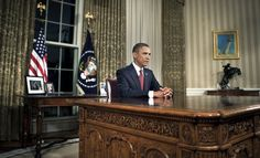 President Barack Obama at his desk after addressing the country from the Oval Office in 2010.