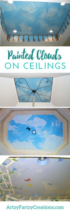 Painted Clouds on Ceilings & Walls   Cheryl Phan   Stunning Painted Ceilings   DIY Murals   Ceiling Ideas   Painting Tips