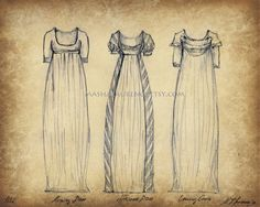 Papyrus Series Regency fashion art print 1802 par mashalaurence, $20.00