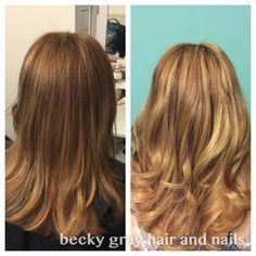 Becky Gray hair and nails balayage highlights