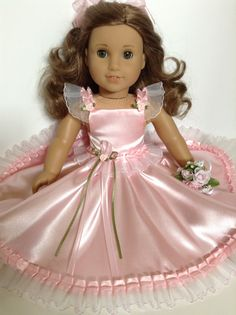 American Girl 18-inch Doll Clothes - Pink Satin Gown & Hair Bow