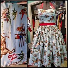"An example of one of our swing dresses. You pick the print, the accent color, strapless/halter tie/regular straps/cross straps, pockets. Kind of a ""build your own dress"". Swing dresses start at $85 plus shipping. Email RETROHUNNY@GMAIL.COM to order/collaborate on your order or order a gift certificate for a future purchase. #handmade #madeinidaho #retrohunny #vintageinspired #pinupfashion #retrofashion #retrofabulous #retroclothing"