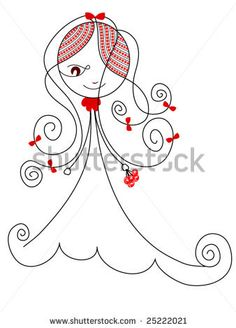 vector girl with flowers by keyplacement, via Shutterstock