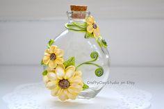 Sculpted Flowers - Flower Decor - Polymer Clay Flowers - Flower Vase - Decorated Bottle - Embellished Bottle - Fantasy Decor - Glass Bottle