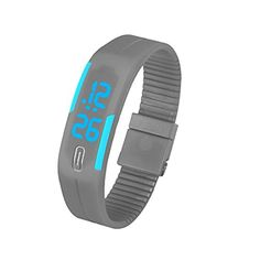 Coromose Mens Womens Rubber Blue LED Watch Date Sports Bracelet Digital Wrist Watch Gray >>> To view further for this item, visit the image link.Note:It is affiliate link to Amazon.