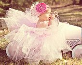 Baby tutu dress, girls tutu dress. The Elaborate Shabby Chic Pink tutu dress with Glamorous Headpiece
