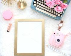 Utilizing a blue #typewriter, pink polaroid and other desk props, this fantastic image is a great addition to your online presence. Available as a digital download, this stock photo can be over-layed with text or print and can be customized to fit your needs.
