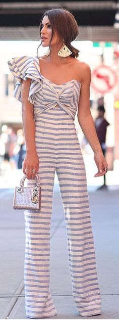One Shoulder Striped Ruffles Twist Detail Jumpsuit Jumpsuits For Women Cheap Party Dresses, Designer Party Dresses, Girls Party Dress, Semi Formal Outfits, Casual Outfits, Summer Outfits, Fashion Outfits, Jumpsuit Elegante, Love Fashion