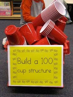 Several station ideas for the 100th Day of School. This 100 Cup structure would be a great collaborative activity and so much fun for the students.  #100thDayofSchool